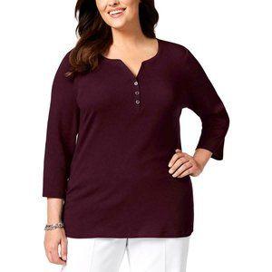 Women's Plus Split Neck 3/4 Sleeves Blouse Shirt